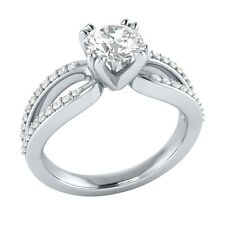 0.80 ct Real White Sapphire & Certified Diamond Solid White Gold Engagement Ring