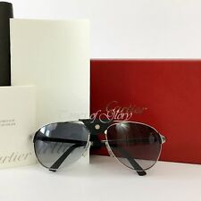 Auth NEW Cartier Unisex Men Aviator SANTOS DUMONT Silver Grey Sunglasses 130mm