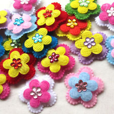 20/100PCS Felt Padded Flowers Appliques Craft Wedding Deco Mix