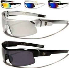 NEW SUNGLASSES BLACK DESIGNER MENS LADIES SEMI-RIMLESS LARGE MIRRORED WRAP SPORT