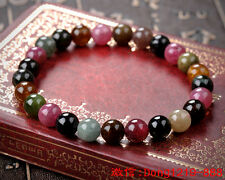 Genuine Natural Colorful Tourmaline Crystal Round Beads Bracelet 7 mm