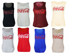 NEW LADIES WOMENS LOOSE COCA COLA PRINT SLEEVELESS VEST TANK TOP CASUAL T-SHIRT