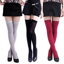 Women's Surprise Pure Color Opaque Sexy Thigh High Stockings Over The Knee Socks