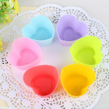 6pcs Heart Silicone Cake Muffin Chocolate Cupcake Bakeware Baking Cup Mold 3/7cm