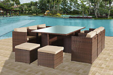 RATTAN GARDEN FURNITURE CUBE DINING SET 10PPL OUTDOOR CONSERVATORY PATIO