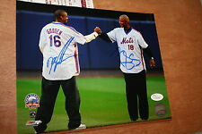 NY METS DWIGHT GOODEN & DARRYL STRAWBERRY SIGNED 8X10 PHOTO 1986 WS CHAMPS JSA!