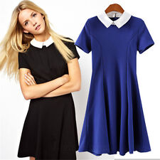 C New Spring Lady Elegant Summer Peter Pan Collar Long Sleeve Slim Pleated Dress