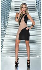 Sexy Sleeveless Black & Nude Mesh Mini Dress Clubwear Espiral 4357