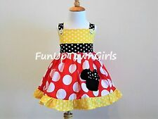 GIRLS HANDMADE MINNIE MOUSE RED WHITE AND YELLOW POLKA DOT JUMPER DRESS