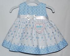 Baby Girls Pretty Broderie Anglaise Pink or Blue Summer Dress 0-18 Mth Occasion