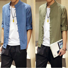 Summer Tang suit Chinese style men's short sleeve linen shirt plate buttons gift