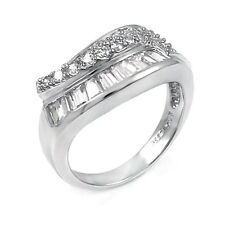 Sterling Silver Pave Baguett and Round Cz Ring (9SMO93R0159)