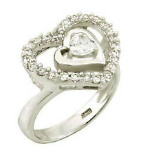 Sterling Silver Double Open Heart Ring with Clear Cz (9SMO93R0174)
