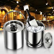 2L/3L Bilayer Stainless Steel Insulation Ice Bucket Wine Cold Barrel w/ Lid P1Z0