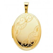 Vintage 14k Yellow / White Gold Scroll Engrave Picture Locket Oval Charm Pendant