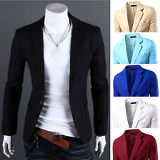 2016 Stylish Mens Casual Slim Fit Formal One Button Suit Blazer Coat Jacket Tops