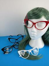 Cat Eye Clear Lens Glasses 50s Rockabilly Brown Red White Black PinUp Large