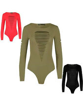 NEW WOMENS LADIES LASER CUT FRONT LONG SLEEVE ROUND NECK BODYSUIT LEOTARD TOP