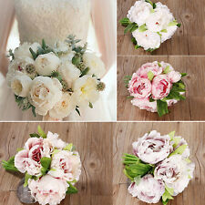 5 Bunch Artificial Peony Flower Bridal Holding flowers Wedding Living Room Decor