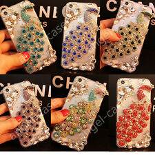 Luxury Bling Jewelled Crystal Diamond Rhinestone Peacock Clear Phone Case Cover