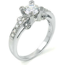 Sterling Silver Engagement Ring with Pave Set Cz and Prong Set Cz (9SMO93R0132)