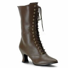 Funtasma VICTORIAN-120 Front Lace Up Mid Calf Boot With Inner Side Zip Brown