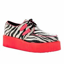 Demonia by Pleaser Platform Punk Goth Vegan UV Zebra Creeper Shoes Red