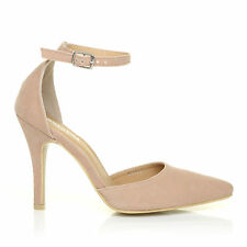 NEW YORK Nude Faux Suede Ankle Strap Pointed High Heel Court Shoes