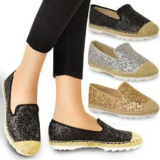 WOMENS LADIES FLAT SHOES ESPADRILLES CASUAL HOLIDAY COMFORT GLITTER SHIMMER SIZE