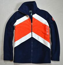 NWT WOMEN LAUREN RALPH LAUREN NAVY STRIPED FLEECE ZIP UP HOODIE JACKET SZ MEDIUM