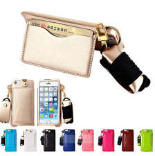 Hand Wrist Neck Strap Lanyard Leather Card Holder Stand Case For iphone 5se 6S +