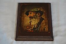 VTG Decoupage Bearded Old Man Smoking Pipe Paper Cut-out Carved Wood Plaque