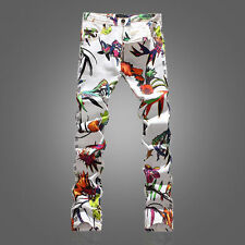 Fashion Men Scrawl  Korea Fashion Floral Printing Long Cotton Trousers Jean Pant