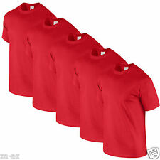 4 Mens Fruit of the Loom Plain Red Cotton Tshirt T Shirt Blank 100% Cotton