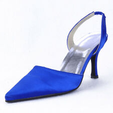 EP11002 Women Mid Heel Party Pumps Pointy Toes Slingback Satin Wedding Shoes