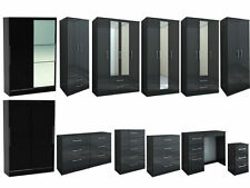 New Fully Assembled Birlea Lynx Black High Gloss Bedroom Furniture