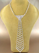 "16"" Adjustable Tie Necklace With Clear Rhinestones V Design"