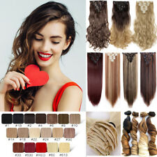 100% Real Natural Hair Full Head Clip In Ins Hair Extensions Synthetic as human