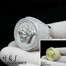 925 STERLING SILVER LAB DIAMOND ICED MEDUSA HEAD SILVER/GOLD ROUND RING*ASR46