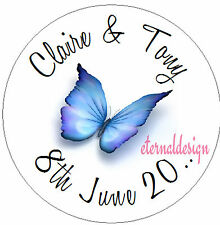 Personalised Wedding Day Circle Stickers Seals High Gloss Butterfly Designs