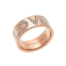 New Michael Kors Pave LOVE Logo Ring $85 Rose Gold SZ 6 7 8