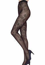 Sexy Floral Tights Patterned 40 Denier Pantyhose Black Hosiery Bloom Fiore
