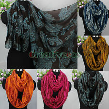 Womens Vintage Beautiful Vines Paisley Floral Print Soft Long/Infinity Scarf New