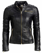 Jacket Leather Motorcycle S New Biker Black Coat Lambskin Womens Jackets WJ147