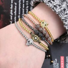 Men's Bracelet Braided Leather Wristband Skull Beads Friendship Bangle Jewelry