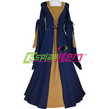 Navy Blue and Brown Medieval Dress Victorian Renaissance Gothic Dress Costume