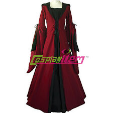 Red Black Medieval Dresses Victorian Renaissance Gothic Dress Costume Plus Size