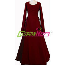Dark Red Medieval Renaissance Victorian Maiden Dress Gown Costume Plus Size