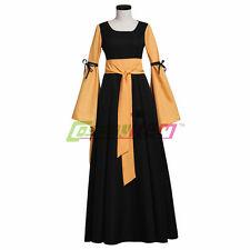 Black Brown Medieval Renaissance Victorian Maiden Dress Gown Costume Custom