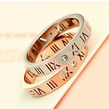 Brand Jewelry Roman numeral AAA Cz Rose Gold Filled 925 Silver Wedding Band Ring